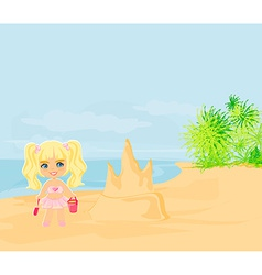 Little girl building a sand castle at the beach vector