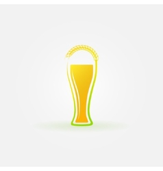 Glass of beer with ear of wheat logo vector