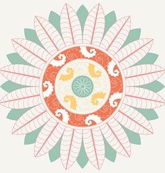 Tropical mandala in pastel colors vector