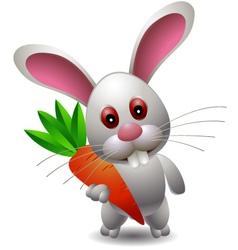 Cute rabbit cartoon with carrot vector