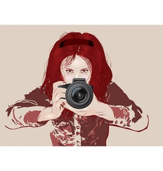 Female photographer vector