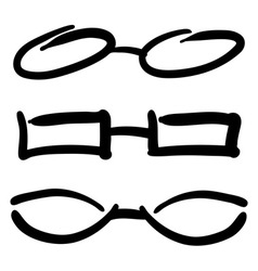 Hand drawn glasses and sunglasses silhouettes sket vector