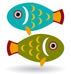 Green and blue fish on a white background vector