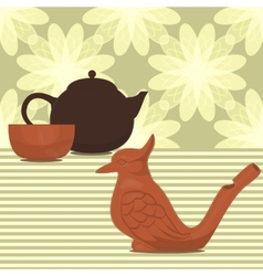 Clay made tea ceremony set vector
