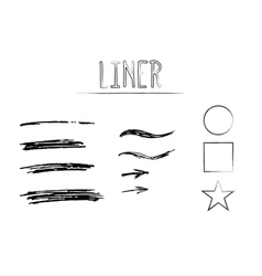 Set of hand drawn doodle sketchy grunge liner vector