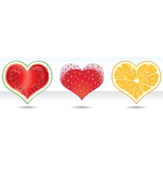 Fruit heart icons set vector