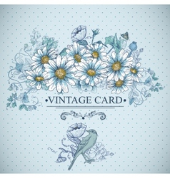 Vintage floral card with birds and daisies vector