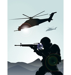 Soldier with helicopter vector