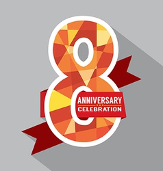 8th years anniversary celebration design vector