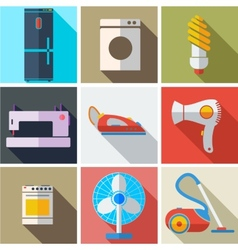 Collection modern flat icons household appliances vector