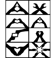 Hand signs collage vector