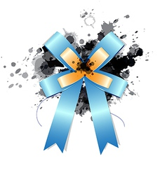 Blue ribbon bow on ink splash vector