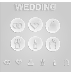 Gray icons for wedding vector
