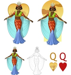 Queen of hearts afroamerican actress mafia card vector