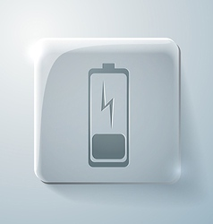 Discharged battery glass square icon vector