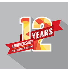 12th years anniversary celebration design vector
