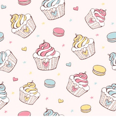 Cupcakes and macaroons seamless pattern vector