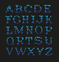 Alphabet in the shape of fire isolated on a black vector