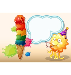 A happy monster near the colorful giant icecream vector
