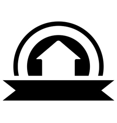Black real estate icon with cottage vector