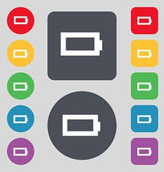 Battery empty icon sign a set of 12 colored vector