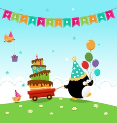 Penguin delivering birthday cake vector