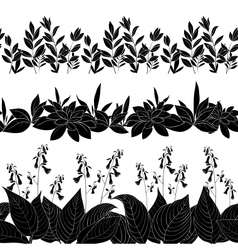 Flowers and grass silhouette set seamless vector