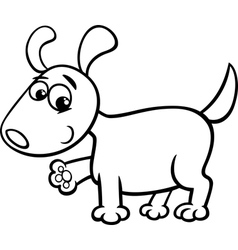 Dog puppy cartoon coloring page vector