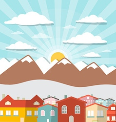 Houses - city mountain flat design vector