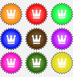 King crown icon sign a set of nine different vector