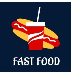 Fast food hot dog with soda vector