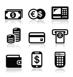 Money atm - cash mashine icons set vector