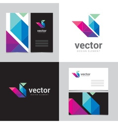 Logo design element with two business cards - 14 vector
