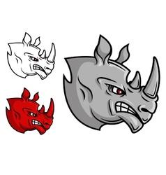 Fierce cartoon rhino head vector