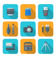 Color flat style square digital photography tools vector