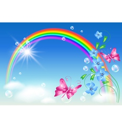 Rainbow and flowers vector