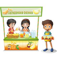 Three kids selling refreshing drinks vector