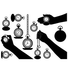 Set of different pocket watches vector