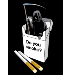 Death inside a cigarette pack vector
