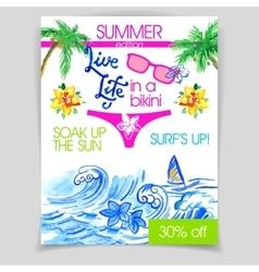 Live life in a bikini flyer vector