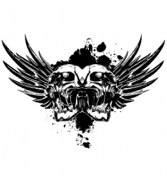Skull with wings and splashes vector