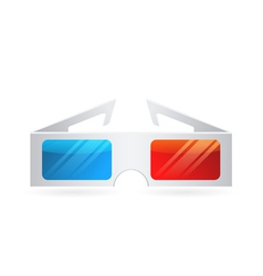 Realistic paper cinema 3dglasses isolated on white vector