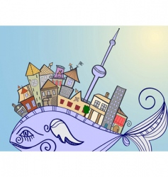 Concept town on whale vector
