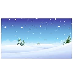 Trees over snow landscape vector