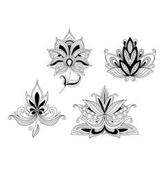 Set of indian and persian flower blossoms vector