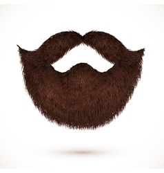 Brown mustaches and beard isolated on white vector