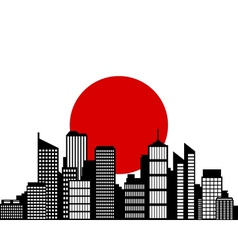 City and flag of japan vector