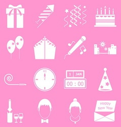 New year icons on pink background vector