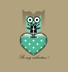 Cute owl holding a gift vector