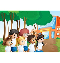Six happy students in front of the school building vector